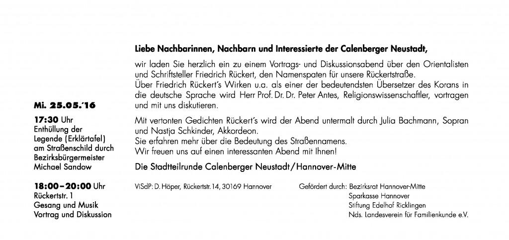 Veranstaltung der Rückertstraße - Aufhängung der Erklärtafel